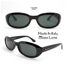 OCCHIALI DA SOLE VINTAGE UOMO DONNA rettangolare NERO LUCIDO Made In Italy