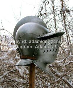 Medieval 16 Guage Steel Visor Burgonet Helmet