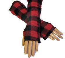 Red Buffalo Check Plaid Arm Warmers Fleece Holiday Gift