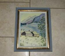 GREAT MID CENTURY FRAME DEEP BLUE & GOLD  WOOD OIL ON BOARD PAINTING