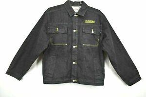 Avirex Boys Youth Size XL 20 Button Front Long Sleeve Black Denim Jean Jacket