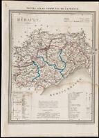 1839 - Carte géographique ancienne de l'Hérault. Département France. Gravure