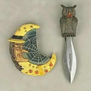 RARE VTG Commanding Wizard Halloween Witch Owl Knife Ceramic/Resin Steel Dagger
