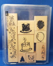 SKETCH A PARTY Birthday two step 9pc Set - Stampin' Up Wood Rubber Stamp in Case