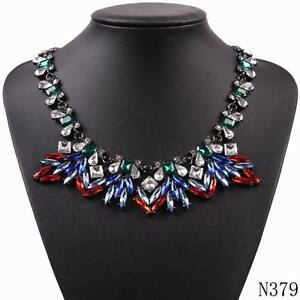 Black Chain Brand Crystal Statement Pendant Necklace For Girls Sexy Choker Jewel