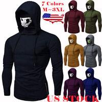 US Mens Gym Thin Hoodie Long Sleeve Hooded With Mask Skull Sweatshirt Tops