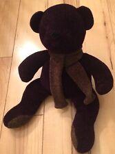 Pottery Barn Dark Sweater Knit Bear Plush With Scarf