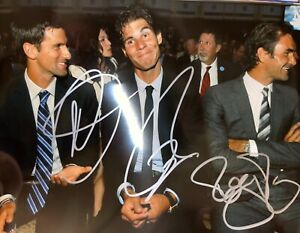 Roger Federer Novak Djokovic Rafael Nadal signed 8 x 10 3 players of all time 2