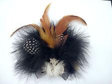 Black Bead Crystal Fox Brown Turkey Feather Ostrich Feather Faux Fox Fur Brooch