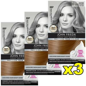 3 x John Frieda Precision Foam Colour Hair Colour 8BP Medium Warm Pearl Blonde