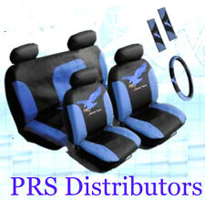 Car Truck SEAT COVERS BLUE BLACK Synthetic Leather SEAT COVERS in 11 Pieces Gift