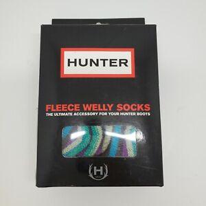 Hunter Welly Boot Liners Socks Gray Fleece Size M US 5-7 Womens zig zag