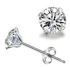 Silver plated stud earrings for women's round small zircon earrings - London