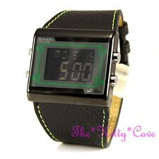 OMAX Green Black Chronograph Steel Seiko Digital LCD Leather Sports Watch OAS083