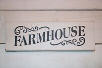 "Rustic Handmade Wood Sign Distressed ""Farmhouse"" Primitive White and Black"