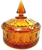 VINTAGE 1970s INDIANA GLASS  LIDDED CANDY NUT DISH PRINCESS PATTERN AMBER #7692