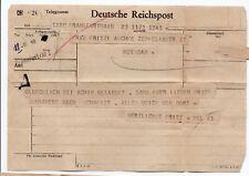 1945 P.O.W. Telegram to Germany from prisoner of war written in German - unusual