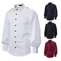 Mens Puff Long Sleeve Victorian Gothic Shirt Epaulette Blouse Top Casual Vintage
