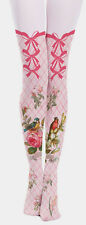 Victoriana Pink Tartan Gingham Bird Bows Opaque Tights Lolita Steampunk Harajuku