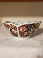 "Japanese Imari Bowl Vintage Porcelain Lotus Petal Shaped Gold Trim 7""W 3""H"