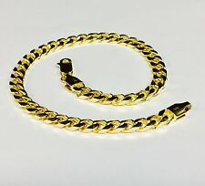 """14k Solid Yellow Gold Miami Cuban Curb Solid Link 7"""" 5.3 mm 10 grams Bracelet"""