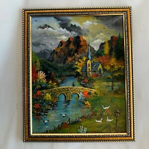 Original Art Painting Landscape Stream Church Bridge Countryside Europe 10x8