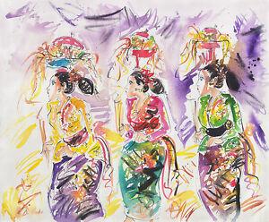 Hand painting Balinese Bali Prayer Procession Abstract 232