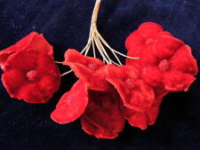 Vintage Millinery Flower Velvet Real Red 12pc Bunch Hat Wedding or Hair Sa