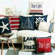 Navigation Navy Blue Nautical Shell Starfish Linen Pillow Marine Cushion Cover