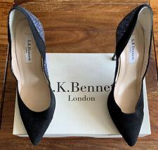 LK Bennett Black Suede Glitter Shoes UK 4 37 Boxed