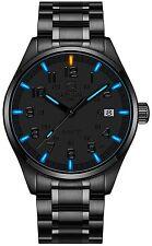 PASOY Mens Luminous Tritium Watch Waterproof Blue light Black Stainless Steel
