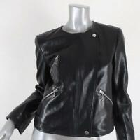 Isabel Marant Etoile Grinly Leather Motorcycle Jacket Black Size 40 Biker Jacket