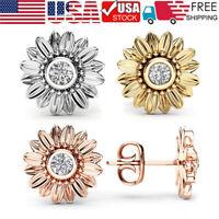 Fashion Womens Simple Personality Creative Sunflower Zircon Rhinestone Earrings