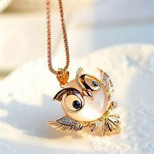 Women Lady Hot Fashion Opal Rhinestone Crystal Owl Pendant Necklace Jewelry