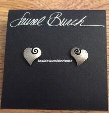 Laurel Burch Open Hearts Post Earrings Silver Tone NEW Retired