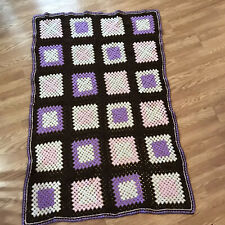 Hand Crochet Afghan Granny Square Purple Brown Blanket Cover Up