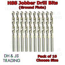 10x HSS Drill Bits - Flute Ground - Jobber Bit -For Hard Use Steel Wood Plastics