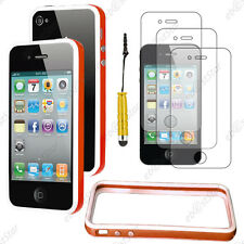Housse Coque Etui Bumper Orange / Blanc Apple iPhone 4S 4+Mini Stylet+3 Films