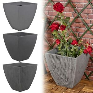 Large Square Plastic Ribbed Lava Effect Indoor/Outdoor Flower Plant Pot Planter