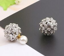 Sterling Silver Swarovski Element Crystal Disco Ball Pearl Stud Earrings Box F10