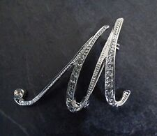 Diamante Silver Initial Letter M Fashion Brooch Pin Brand New FREE P&P