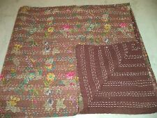 Indian Queen Size Kantha Quilt Brown Floral Bedspread Bedding Blanket Ralli