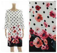 M&Co Polka Dot Spotted Poppy Floral Slash Sleeves Tunic Dress