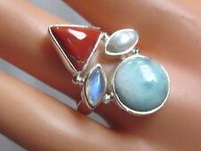 ECHTER NATUR LARIMAR RING Korallle MONDSTEIN Perle 925 Silber Gr 18