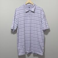NIKE GOLF Dri Fit Polo Shirt Short Sleeve Mens XL Purple Black White Stripped