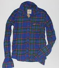 NWT! ABERCROMBIE & Fitch Womens Flannel Classic Plaid Shirt Green/Blue S