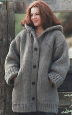 "CHUNKY KNIT HOODED JACKET WITH POCKETS EASY KNITTING PATTERN LARGE SIZES 46""-66"""