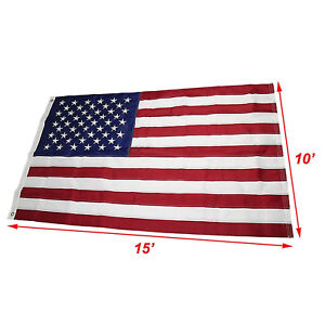 10x15 Embroidered Sewn U.S. USA American 50 Star Premium Nylon Flag 10'x15'