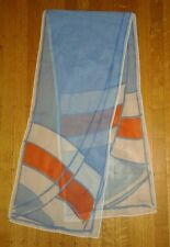 Vera Chiffon Scarf Blue Orange White Mod Graphic Long