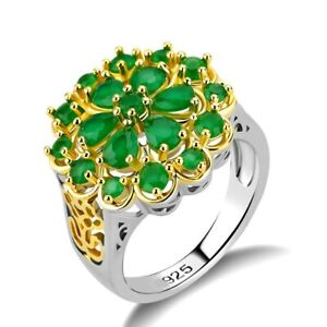 2Ct Pear Cut Green Emerald Luxury Two Tone Engagement Ring 14K White Gold Finish
